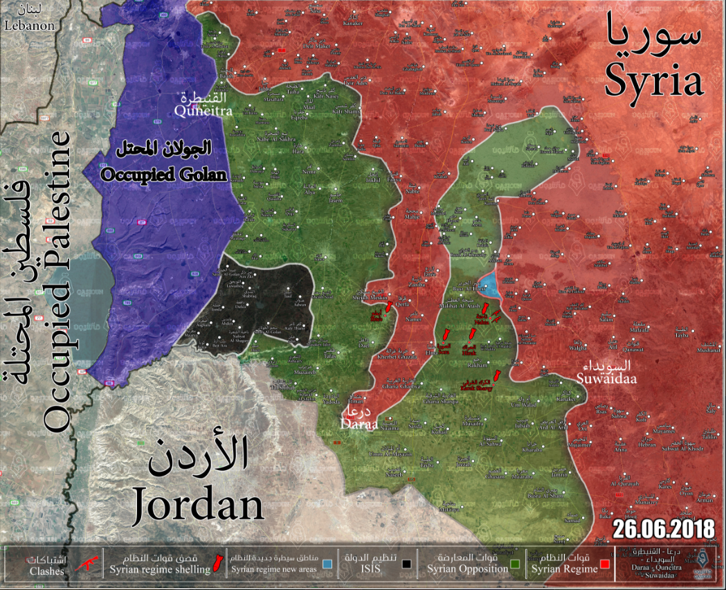 Deployment of the forces in the Daraa area, according to a website affiliated with the rebel organizations (updated to June 26, 2018). Areas controlled by the rebel organizations are marked in green; areas controlled by the Syrian army are marked in red; the Basr al-Harir area is marked in light blue; and the area controlled by ISIS is marked in black (Qasiyoun, June 26, 2018)