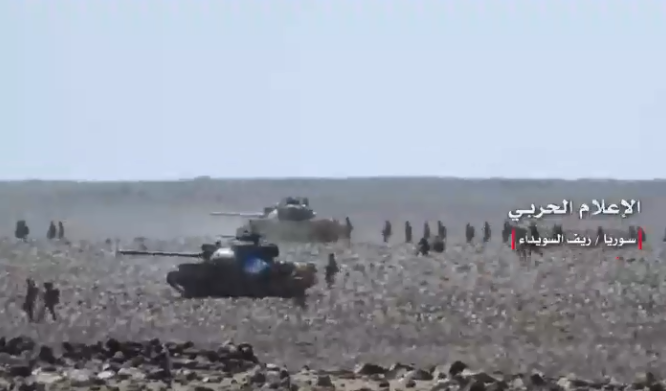 Syrian army force advancing in the desert area of Al-Safa (Syrian Army Military Information Office, June 20, 2018)