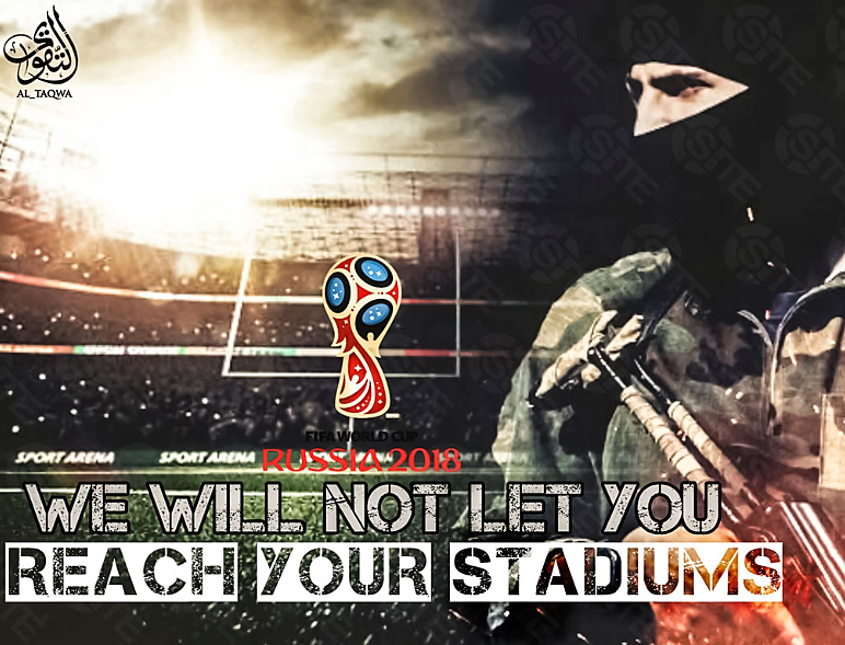 "The poster that reads: ""Russia 2018 – We will not let you reach your stadiums"" (Telegram, June 21, 2018)"