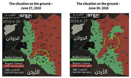 Right: The splitting of the rebel enclave in the area of Busra al-Harir, leading to further attacks to the north and south (Khotwa News Agency, June 27, 2018). Left: Syrian army attacks on the southern part of the eastern rebel enclave and local attacks northwest of Daraa to the west (Khotwa News Agency, June 30, 2018)