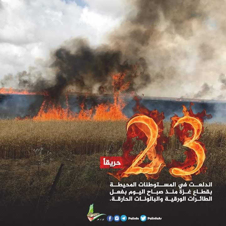 "Notice posted by Hamas boasting about the fires that broke out on June 27, 2018, caused by incendiary kites and balloons. The Arabic reads, ""23 fires have broken out in the [Israeli] communities near Gaza since this morning [June 27, 2018], caused by incendiary kites and balloons (Palinfo Twitter account, June 28, 2018)."