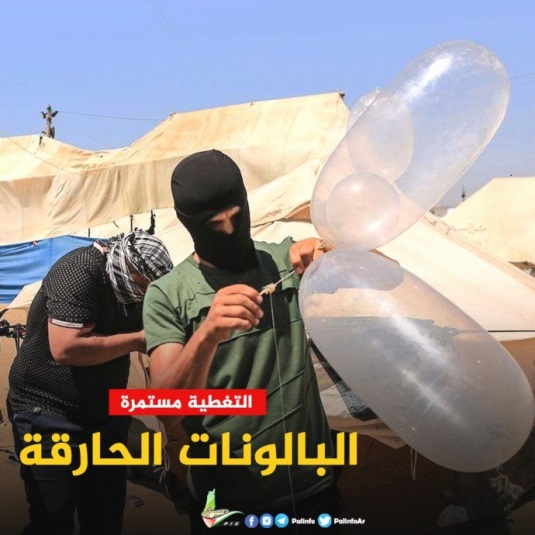 "Hamas picture of masked Palestinians preparing incendiary balloons. The Arabic reads, ""incendiary balloons"" (Palinfo Twitter account, July 1, 2018)."