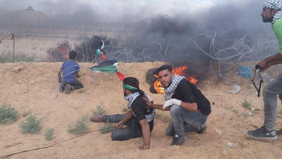 Yasser Abu al-Naja (upper left, blue shirt), who was killed near the security fence on June 29, 2018. He was part of a Palestinian squad that tried to vandalize the barbed wire face, in ITIC assessment, in preparation for penetrating into Israeli territory (Facebook page of Mus'ab al-Kasas Abu Wadia', July 2, 2018).