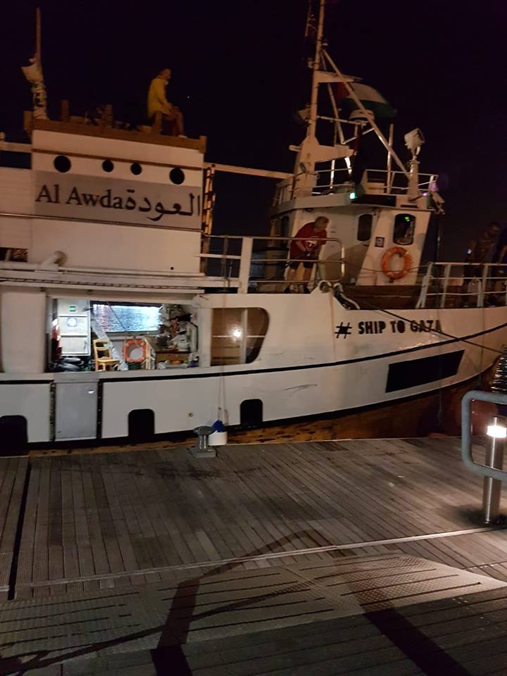 The al-Awda anchored in Cagliari in Sardinia on July 2, 2018 (Facebook page of the Sardinia-Palestine Friendship Association, July 2, 2018).