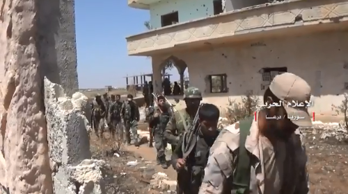 Operation by Syrian army soldiers north of Daraa (Hezbollah's Military Information Office, June 29, 2018).