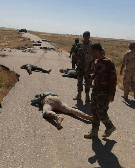 Iraqi security personnel near the bodies of the abductees who had been executed by ISIS on the Diyala-Kirkuk highway (BasNews, June 27, 2018)