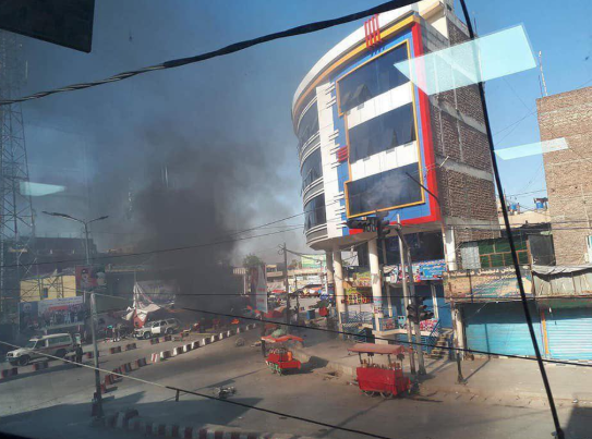 Scene of ISIS's suicide bombing attack in central Jalalabad (Khabarnama@khabarnamaaf, Twitter account of an Afghan media website, July 2, 2018)