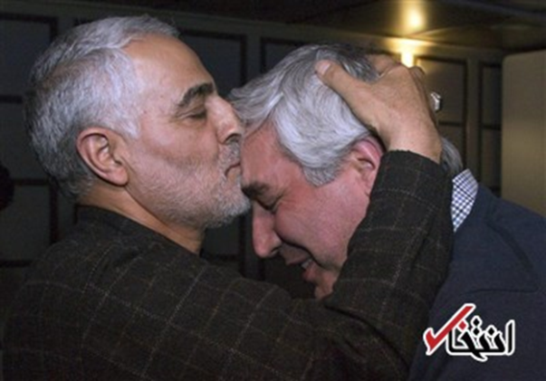 "Qasem Soleimani, the Commander of the IRGC's Qods Force, kissing the forehead of Hatamikia, the director of ""Damascus Time"" (Entekhab, February 9, 2018)"