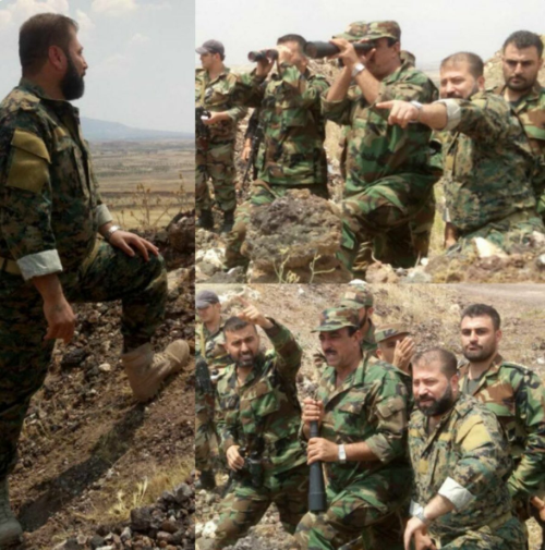 Maher Ajeeb with Abu Fadl al-Abbas Brigade fighters in the region of Quneitra (Syrian Institute for Strategic Studies Nours, June 6, 2018).