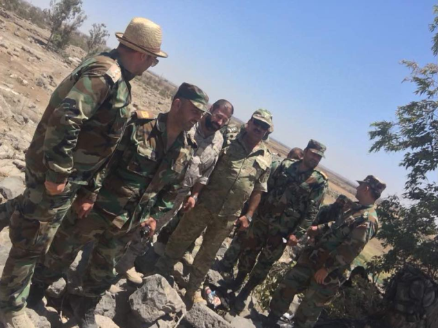 Abu Ajeeb with Syrian army officers (Shabakat Sham, July 3, 2018).