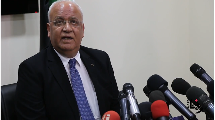 Saeb Erekat at a press conference in Ramallah (Wafa on YouTube, July 4, 2018).