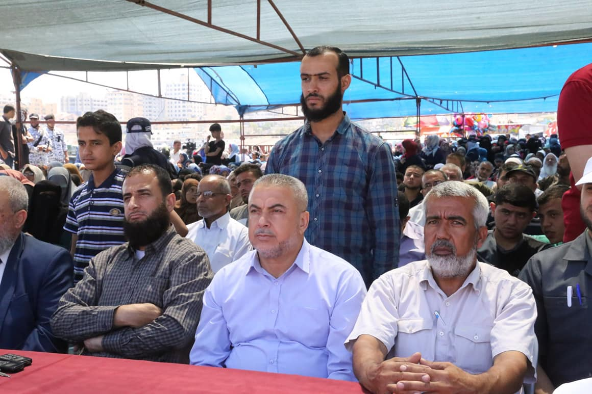 The ceremony of the launching of the boat, attended by senior Hamas figures Isma'il Haniyeh and Isma'il Radwan (Facebook page of the