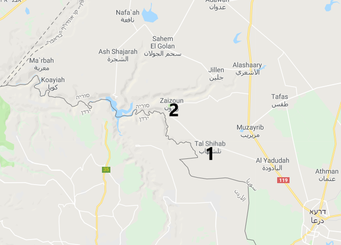 The villages of Tal Shihab (1) and Zizoun (2) (Google Maps)