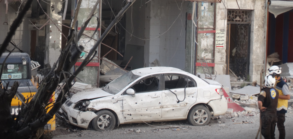 The scene of the suicide bombing attack in the village of Zizoun (Khotwa, July 10, 2018)