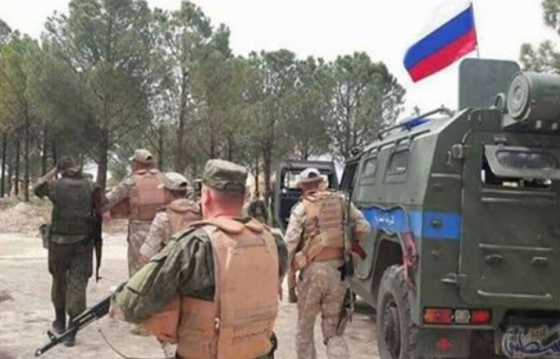 Russian Military Police personnel at the Naseeb border crossing (Asrar Al-Usbu'a, July 7, 2018)