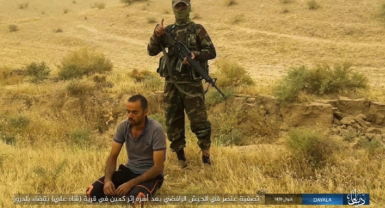 Iraqi army soldier captured in an ISIS ambush east of Baqubah, moments before being executed.