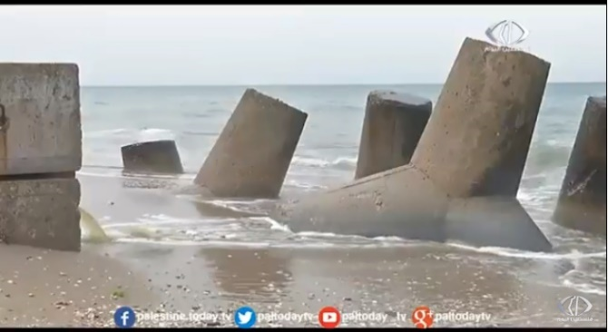 la descarga de aguas residuales a la costa de Gaza.