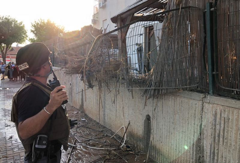 Rocket hit in the southern Israeli city of Sderot (Israel Police Force spokesman's unit, July 14, 2018).