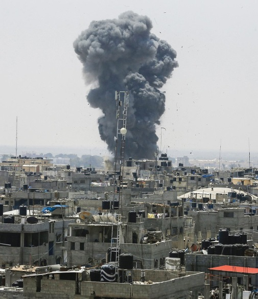 IDF aerial attacks in the Gaza Strip, July 14, 2018 (Palinfo Twitter account, July 15, 2018). Some of the targets attacked were the following (IDF spokesman, July 14 and 15, 2018): A training site for urban warfare: the IDF attacked a five-story building (the al-Katiba building) in Gaza City. It was used by Hamas' military wing as a training ground for urban warfare. There was a tunnel under the building which was used to train operatives in subterranean fighting. The building was attacked after the inhabitants were warned by the IDF to vacate the premises (IDF spokesman, July 14, 2018).