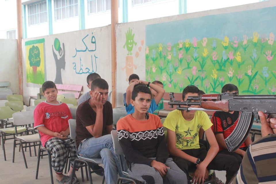 A lesson in a Ma'an summer camp (a neighborhood in southwestern Khan Yunis).