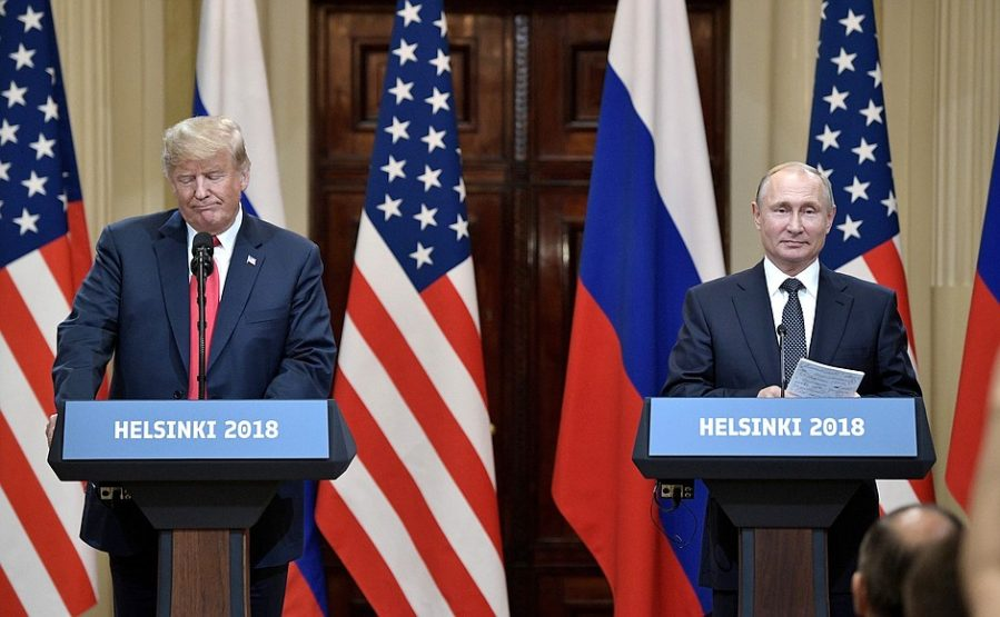 The President of the United States and President of Russia at the joint press conference held after their meeting (Kremlin website, July 16, 2018)