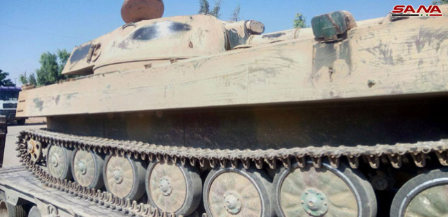 Tank and APC of the rebel forces from Daraa handed over to the Syrian army (SANA, July 15, 2018)