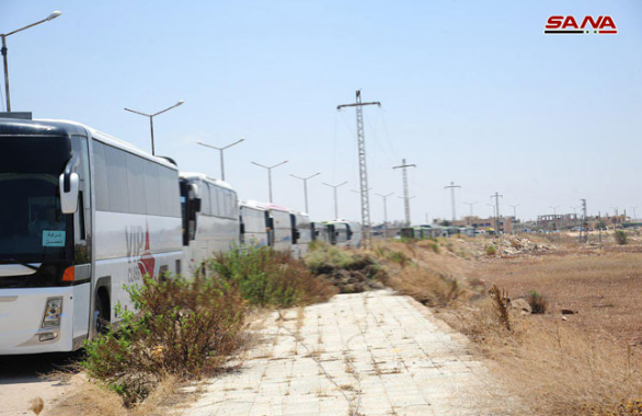 Syrian Red Crescent escorts the convoy (SANA, July 15, 2018)