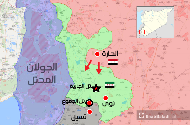 The Syrian move after the takeover of Tell Al-Harrah: advance southward (marked with arrows) and artillery fire at Tell Al-Jabiya (marked with a black star) and Tell Al-Jamou' (marked with a circle) (Enab Baladi, July 17, 2018)