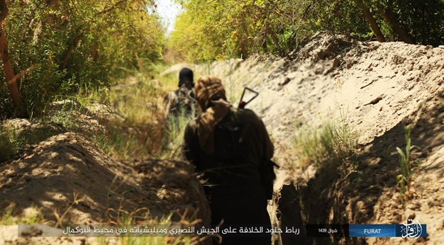 Two ISIS operatives walking in a trench as part of the preparations against the Syrian army (ISIS-affiliated website www.k1falh.ga, July 14, 2018)