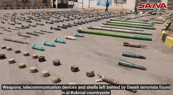 ISIS weapons found by the Syrian army in the village of Hasrat, north of Albukamal (SANA, July 14, 2018)