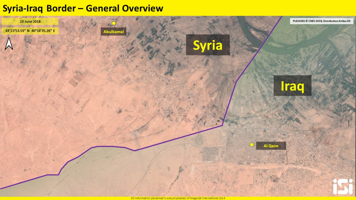 The Syrian-Iraqi border in the area of Albukamal-Al-Qaim – view from above (ImageSat International – ISI)