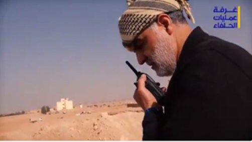 Qassem Soleimani speaking on the radio with the Shiite militias fighting in Albukamal (Twitter account of Hezbollah's Central Military Information Office, November 20, 2017)