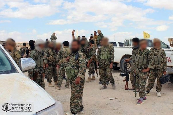 Fighters of the Iranian-handled Fatemiyoun Brigade in the Albukamal area (Facebook page, June 10, 2018).