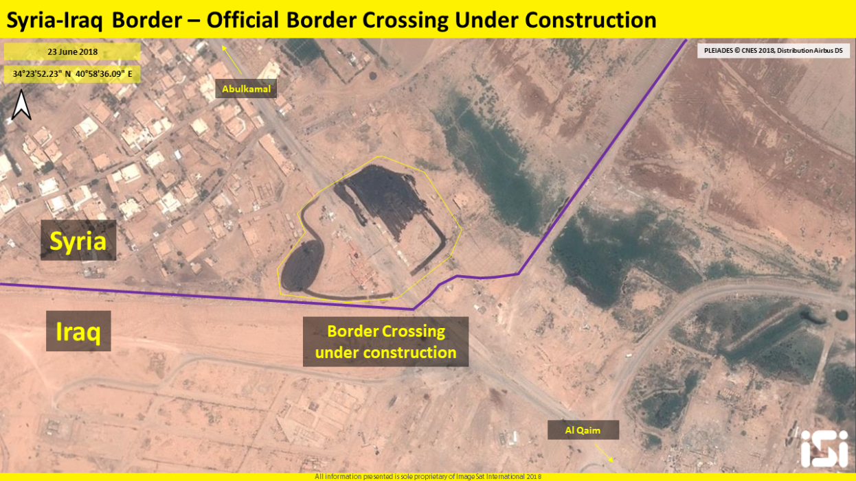 Reconstruction in the Albukamal crossing and the road passing through it (ImageSat International – ISI)