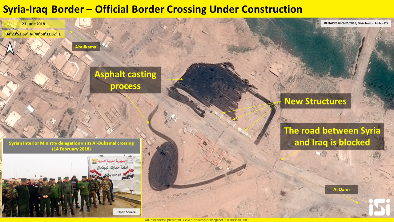 Reconstruction work of the Albukamal crossing and the road passing through it. Work includes repaving with asphalt (ImageSat International – ISI)