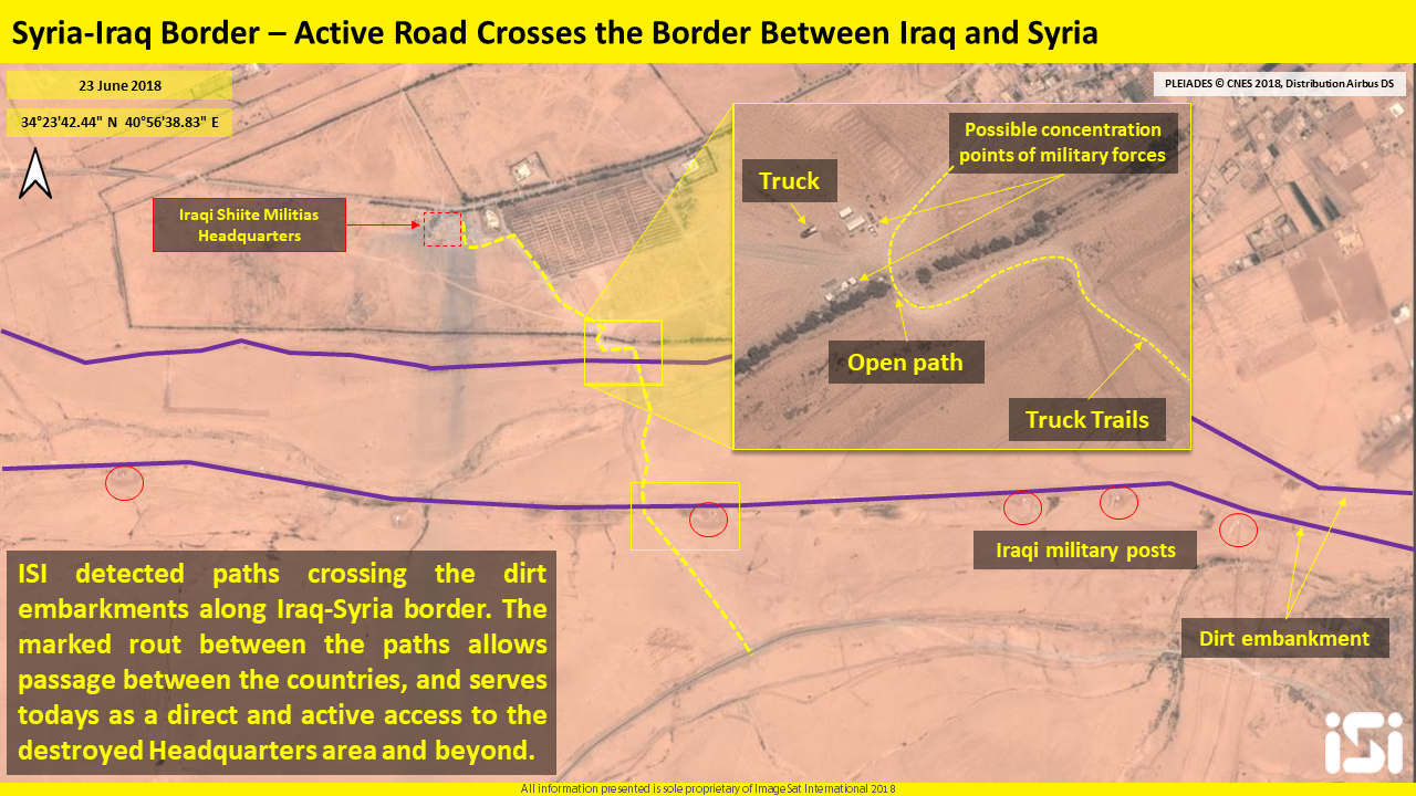 Dirt bypass roads crossing the dirt embankments on the border between Syria and Iraq (ImageSat International – ISI)