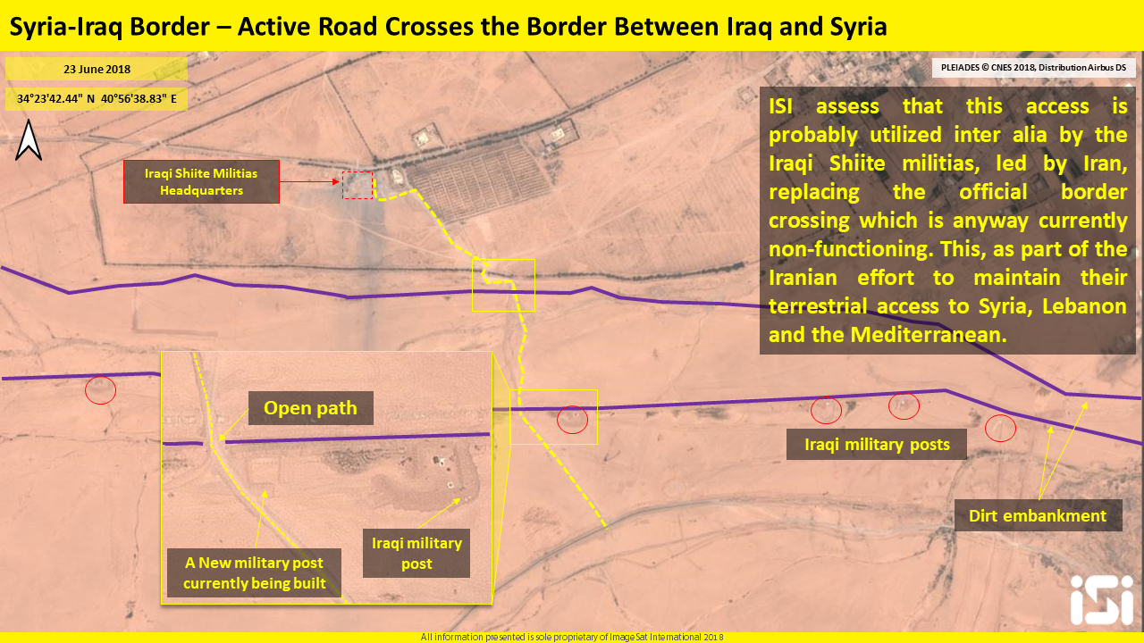 Dirt road leading from Iraq to Syria, passing through the headquarters of the Shiite militias which was destroyed in the airstrike (ImageSat International – ISI)