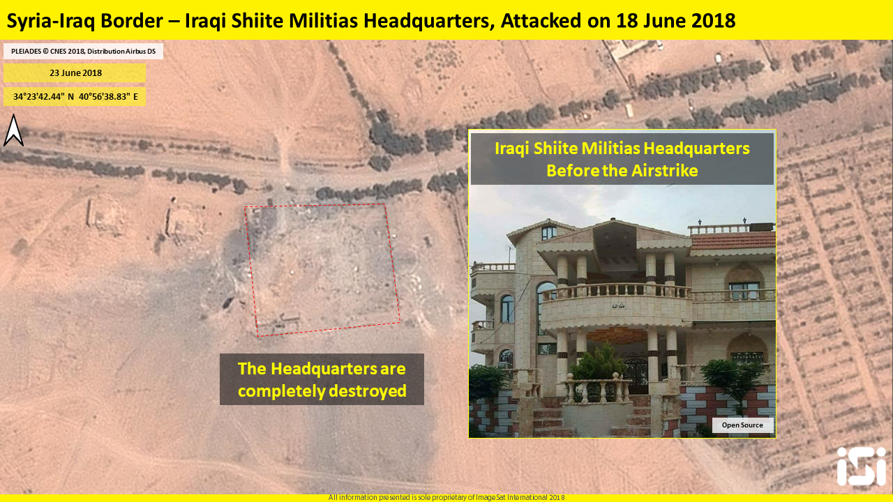 The Shiite militias headquarters before and after the airstrike. The headquarters was totally destroyed (ImageSat International - ISI)