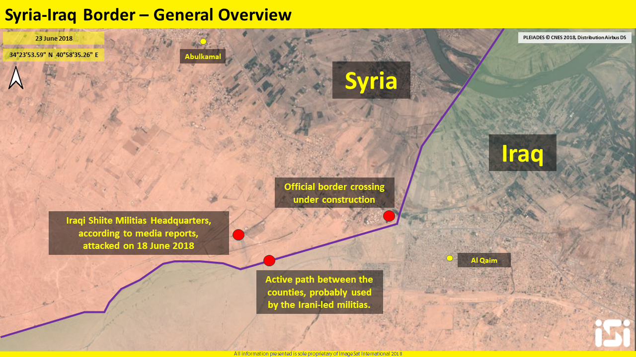 The Shiite militias headquarters that was attacked and the dirt bypass road leading to it (ImageSat International - ISI)