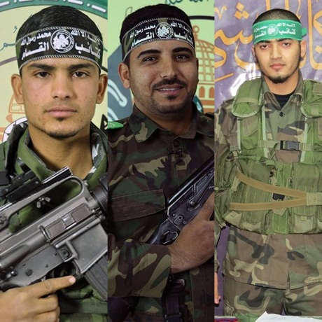The three Hamas terrorist operatives killed by IDF fire. Left to right, Sha'aban Rajab Abu Khater, Muhammad Riyadh Abu Farhana and Mahmoud Khalil Qishta (Hamas military wing Twitter account, July 20, 2018).