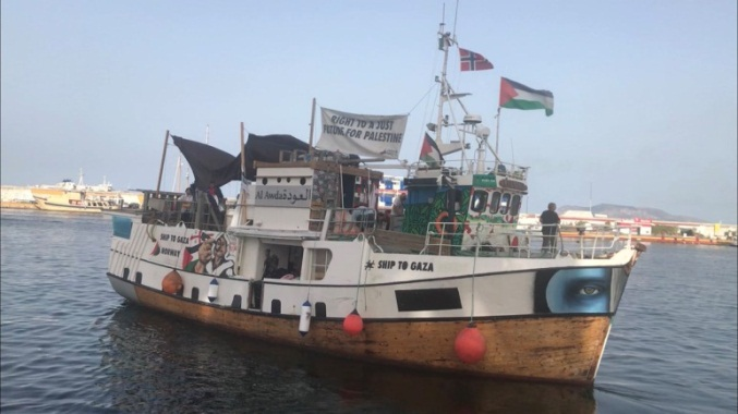 The al-Awda sets sail from Palermo for the Gaza Strip, July 21, 2018 (Twitter account of Zaher Birawi, July 21, 2018).