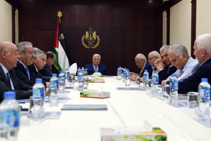 Mahmoud Abbas chairs a meeting of the PLO's Executive Committee (Wafa, July 28, 2018).