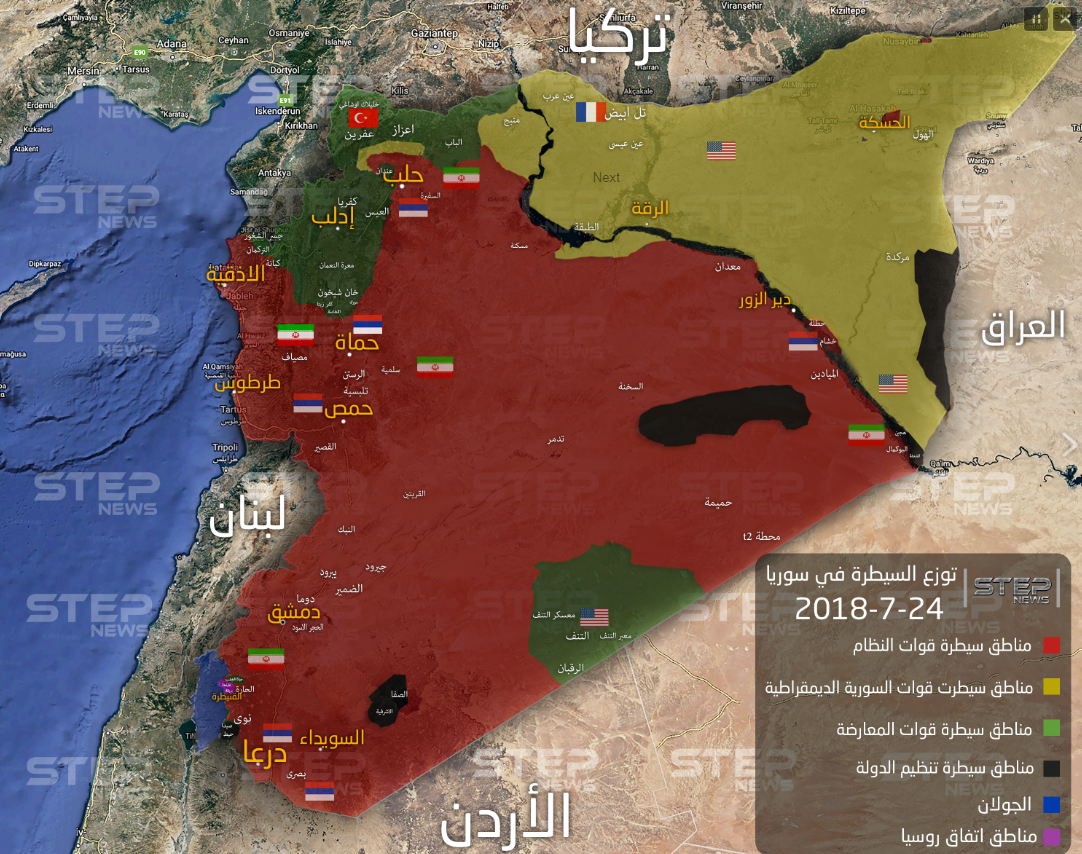 Control areas in Syria (updated to July 24, 2018). The Syrian army and forces supporting it (red) control most of Syria's territory. ISIS's control areas (marked in black) are in part of the Yarmouk Basin (which in the meantime has been almost completely taken over by the Syrian army), Al-Safa area northeast of Suwayda, the desert area between Albukamal and Palmyra, and along the Syrian-Iraqi border. The rebel organizations' control areas (marked in green) are in the Idlib area, along the Syrian-Turkish border, and in the Tanf area (Khotwa, July 2018)
