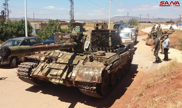 Tank of the rebel forces handed over to the Syrian army in the village of Jubata Al-Khashab.