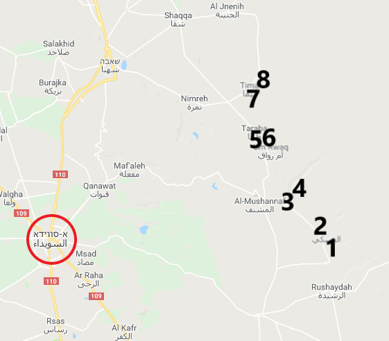Eight villages east and northeast of As-Suwayda, attacked by ISIS (Google Maps)