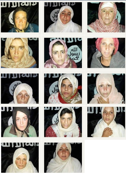 Photos of 14 abducted women, distributed by ISIS (vetogate.com, July 28, 2018)