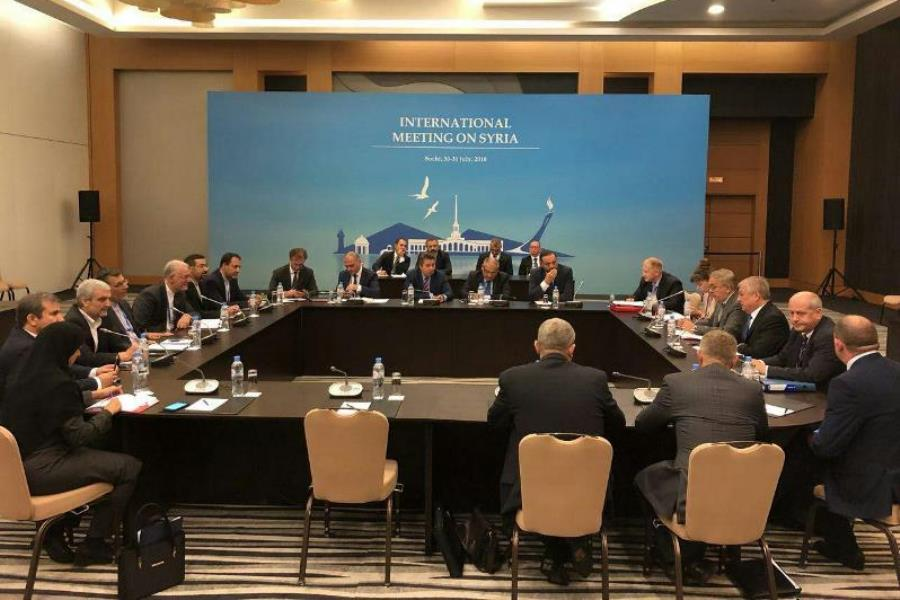 The conference between Russian, Turkish and Iranian delegations in Sochi (IRNA, July 31 2018).