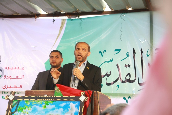 "External Hamas spokesman Husam Badran, who arrived with a Hamas delegation to visit the ""return camp"" in eastern Gaza City."