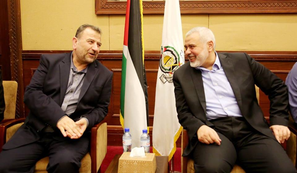 Isma'il Haniyeh, head of Hamas' political bureau, meets with his deputy, Saleh al-Arouri, and members of the external Hamas delegation when they arrive in the Gaza Strip (Hamas website, August 2, 2018).