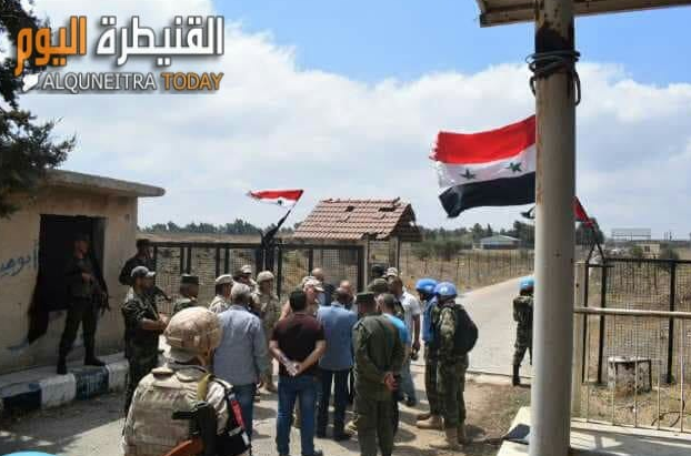 Members of the Russian Military Police, the UN and Syrian army soldiers near the Quneitra crossing (Al-Quneitra Al-Youm, August 2, 2018)